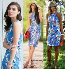 010d6835 ZARA WOMAN BLUE DRESS FLORAL ORIENTAL BODYCON RACER FLOWER MEDIUM - M
