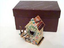 Enamel Jeweled Trinket Box - Birdhouse and Two Birds Heart Shaped Door