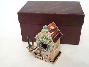 Enamel Jeweled Trinket Box - Two Birds Birdhouse With Heart Shaped Door