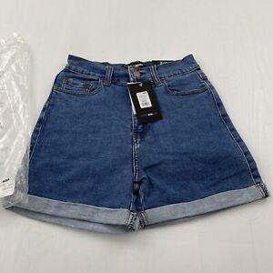 Fashion Nova Carma Roll Cuff Denim Shorts - Medium Blue Wash Jr Size 3