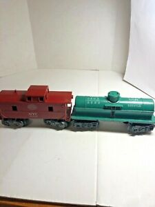 Vintage Marx O Scale Lot of 2 New York Central Caboose and C.S.O.X Tank Car