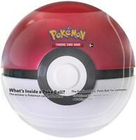 Pokemon TCG Poke Ball 2018 Pokeball Tin red/white with 3 booster packs + coin!