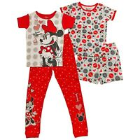 Disney Minnie Mouse 4-Piece Cotton Sleepwear Size 4 New! 2 Sets Girls