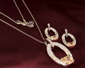 Cubic Zirconia Champagne Citrine Pendant Necklace Earring Set Jewelry Auction