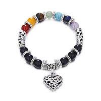 Corazón Colgante Chakra pulsera para mujeres hombres encanto de piedra natural