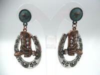 """Western 2 1/4"""" pierced silver,rose & clear stone boot & horse shoe earrings"""