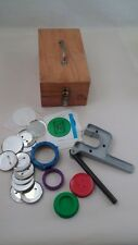 Complete Badge A Minit Hand Press Button Maker Machine w/ Wooden Box & Extras