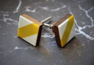 Geometric Square Cupboard Door Knob   Yellow Cream Striped Wooden Cabinet Handle