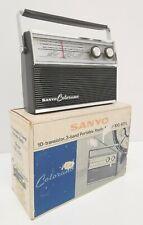 Vtg 1960s Sanyo Colorano 10G-831L 10 Transistor 3 Band Portable Radio Japan Box