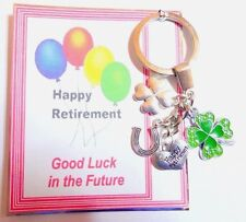 Happy Retirement Future Good Luck Keyring Gift 4 Leaf Clover Lucky Horseshoe