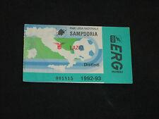 ticket billet biglietto football calcio SAMPDORIA LAZIO ROMA 1992-1993 serie A