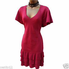 Karen Millen Dark Pink Fine Knit Silk Pleated Hem Flare Jumper Dress KM-3 12 UK