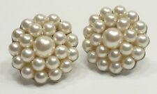 A48) Pretty Faux Pearl Silver-tone Vintage Screw Back Earrings