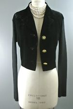 GIANFRANCO FERRE Women's Vintage Jacket 10 Short Black Velvet Crop *1008