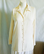 Christie & Jill Top Shirt Button Down Long Sleeves Cream Floral Embossed Sz L