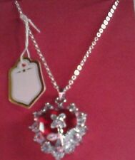 Crystal Red Heart with flower design  Silver Plated  Neckless stunning