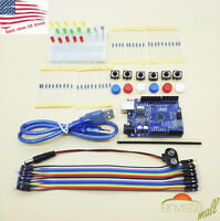 Arduino UNO Starter Kit w/ LEDs Switches Resistors Cables Jumpers & Breadboard