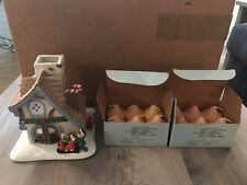 Partylite Christmas Tea Light House and 12 Votive Pineapple/Pomegranate Candles