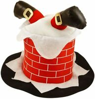 Adult Unisex Santa Chimney Hat Christmas Fancy Dress Novelty Xmas Party Hat