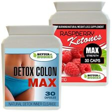 30 RASPBERRY KETONE 600MG + 30 DETOX MAX COLON CLEANSE DIET WEIGHT LOSS PILLS