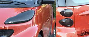 Fits 08-15 Smart Car Fortwo GTS Acrylic Smoke Headlight Taillight Covers 6pc Set