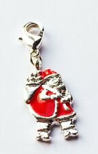 LOVELY SILVER & RED FATHER CHRISTMAS + SACK  CLIP-ON CHARM FOR BRACELET- S/P-NEW