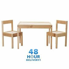 IKEA LATT Children's Table 2 Chairs Wooden Pine Solid Wood Kids Furniture Set