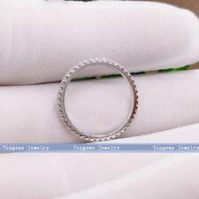 1.3mm Moissanite Engagement Band Full Eternity Prongs Setting 14k White Gold