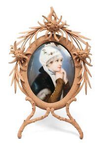 Fine Antique Swiss Hand Painted Portrait Miniature of Girl on Porcelain Plaque