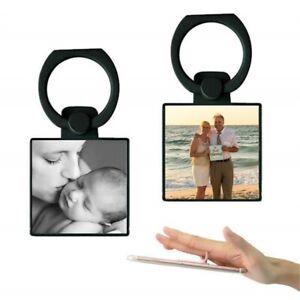 Personalised Photo Square Phone Ring Holder-Black