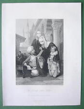 CONSTANTINOPLE Turkish Letter Writer - ALLOM 1840s Original Engraving Print