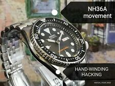 Seiko SKX007 MOD NH36A (4R36) movement HAND-WINDING HACKING Warranty Diver watch