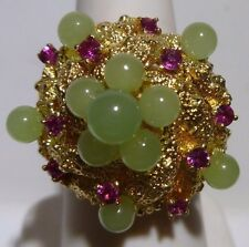 Stunning Dome 14K Gold Jade Rubies Nugget Ring 1970s Pineapple X Large