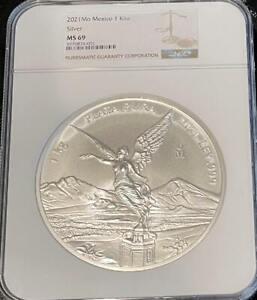 2021 Mo Mexico 1 Kilo Kilogram Silver Libertad NGC MS 69 Mintage of 500