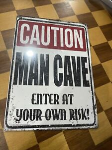 Caution Man Cave Enter At Your Own Risk Metal Sign 8x12 Bedroom Man Cave
