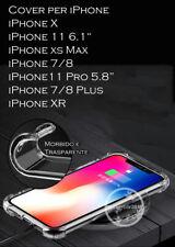 Cover custodia case PER iPhone X XS Max 7 8 Plus XR Transparente+vetro temperato
