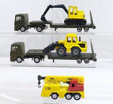 Siku Camion Semi-Remorque + Camion Grue - Excavatrice - Chargeur à Roues 5 Pièce