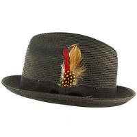 Men's Light Removable Feather Derby Fedora Wide Curled Brim Hat
