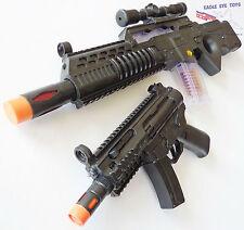 2x Toy Machine Guns Elec Special Forces Rifle & MP5 Toy Rifle w/ Sound FX Set
