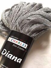 "S Charles Diana Metallic Ribbon Yarn #1 Silver Lining 50gr 1/4"" x 63yds"