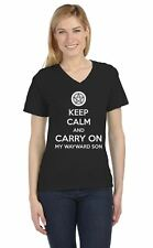 Keep Calm and Carry On My Wayward Son V-Neck Women T-Shirt Supernatural Size L