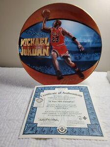 "MICHAEL JORDAN ~ ""6 Time NBA Champion"" His Airness Collector Plate ~ COA"