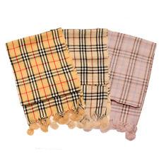 Luxury Soft Touch PLAID / TARTAN Check Scarf Shawl Stole Wrap with fur pom edge