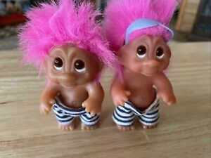 Vintage Norfin Beach Baby Lot Of 2 Pink Hair Troll Doll  Thomas Dam 1985