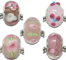 5 Mixte Perles lampwork Verre Fleur Pr Bracelet Charms européen 14x10mm