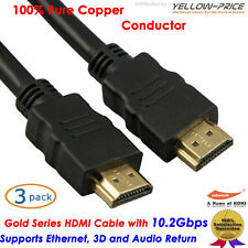 3pcs High Speed Advanced HDMI Cable 2ft For DVD PS4 HDTV Blu-Ray 1080p Full HD