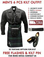 Men's 6 Pcs Scottish Kilt Outfit Shirt,Kilt,Belt,Sporran,Shoes FREE KILT PIN
