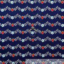 BonEful Fabric FQ Cotton Quilt Navy Blue White Leaf Red Strawberry Stripe Calico