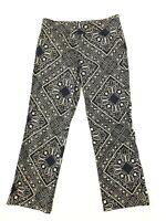 Liquid Womens Pants Size 2 Black Gold Abstract High Waist Crop Capri Cotton