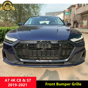 A7 Black Front Grille Homeycomb Grill for Audi A7 C8 4K S7 2019-2021 w/ ACC Hole